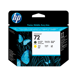HP 72 Tête d'impression DesignJet Série T NOIR MAT/JAUNE C9384A