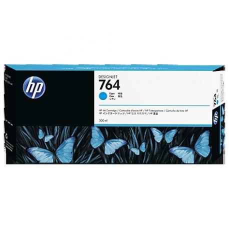 HP 764 - ref: C1Q13A, Cartouche d'encre cyan 300 ml pour HP Designjet T3500