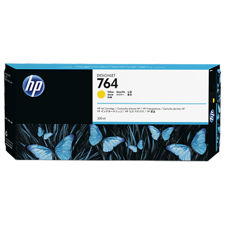 HP 764 - ref: C1Q15A, Cartouche d'encre jaune 300 ml pour HP Designjet T3500