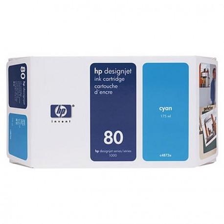 Hp 80 - ref: C4846A, Cartouche d'encre cyan 350 ml pour HP Designjet 1050, 1055
