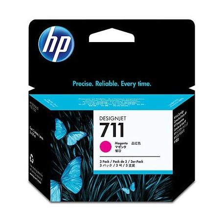 HP 711 - ref: CZ135A, X3 cartouches d'encre magenta 29 ml pour HP Designjet T120, T520