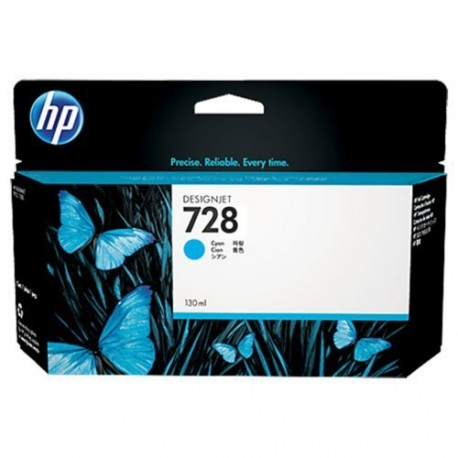 HP 728 - ref: F9J67A, Cartouche d'encre cyan 130 ml pour HP Designjet T730, T830
